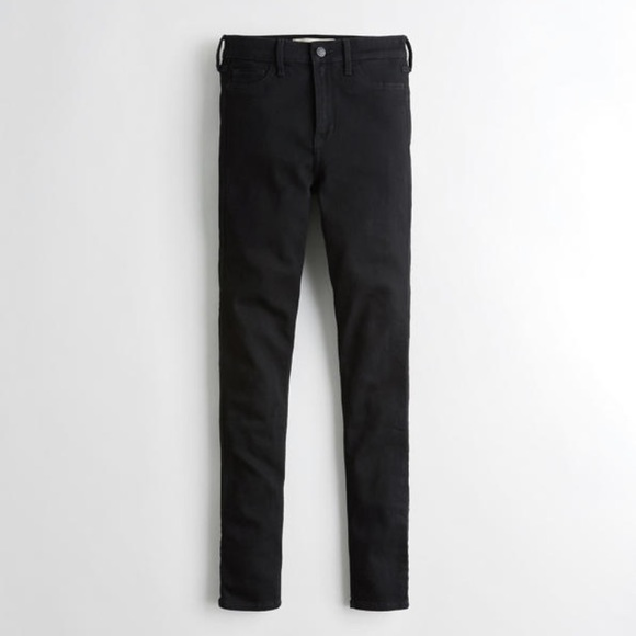 Hollister Pants - black ripped jeans